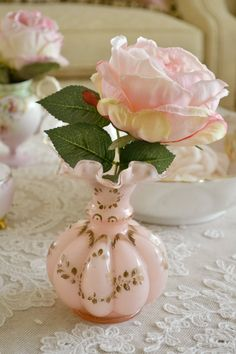 Vintage Pink Glass Vase with Hand Painted Gold / by Jenneliserose