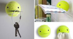 Use Tennis Balls to Hold Just About Any Small Item Around the House (and Be Extremely Cute)  clever uses