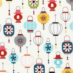 Kokeshi Lanterns on White from Robert Kaufman by StitchStashDiva