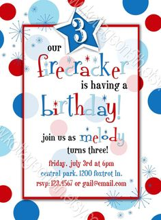 Polka Dot Firecracker 3 - with or without photo - by kottageon5th.etsy...    4th of July Birthday Party Invitation