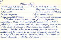Handwritten Meat Loaf Recipe Card | RecipeCurio.com