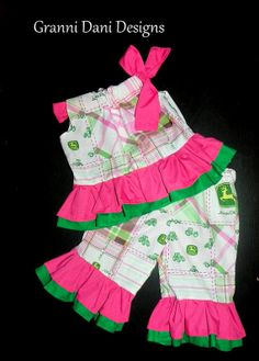 JOHN DEERE outfit set pillowcase dress top by GranniDaniDesigns Girls Boutique, Baby Boutique, Cute Outfits For Kids, Toddler Outfits, My Baby Girl, Baby Love, Baby Girls, John Deere Baby, Baby Kids Clothes