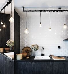 Rustic Industrial Black and White Kitchen