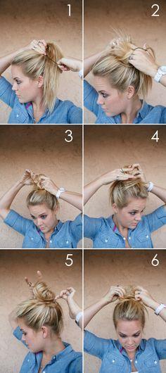 AUTUMN GREY: HAIR TUTORIAL: MESSY BUN- wonder if this method would work on longer hair