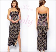 Sexy Women's Strapless Bandeau Plus Size Scalloped Lace Maxi Party Dress 8-16