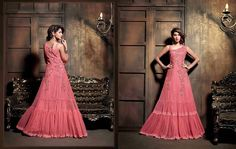 Latest pink embroidery straight suit
