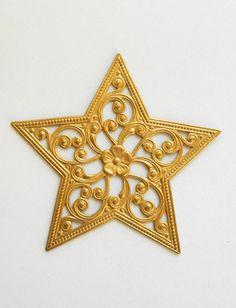 1 large raw brass ornate openwork filigree by GloriousGlassBeads