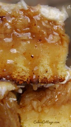 Apple Bars drizzled with Caramel Sauce