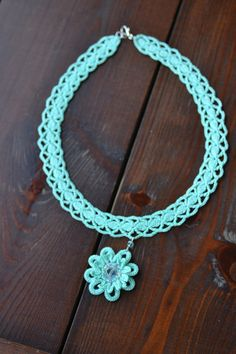 crochet necklace with floral pattern, embroidered with small glass beads, available in many other colours