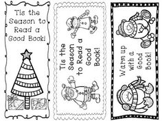 holiday bookmarks freebie print let the kids color and use during winter break