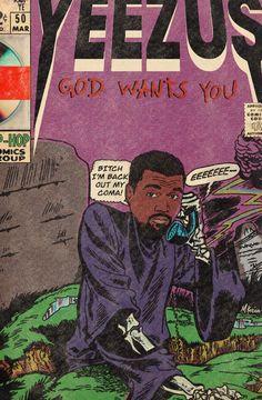 Kanye West Wallpaper, Rap Wallpaper, Arte Do Hip Hop, Hip Hop Art, Comic Books Art, Comic Art, Estilo Chola, Kanye West Yeezus, Cool Posters