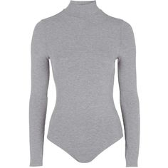 TOPSHOP Long Sleeved Funnel Body ($32) ❤ liked on Polyvore featuring bodysuit, tops, grey marl and topshop