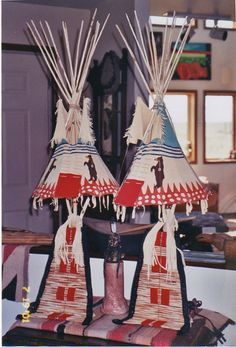 Matt creates these lamps by painting on leather his vibrant scenes of native American life and wildlife and shaping them into the traditional tipi. Painting Leather, Nativity, Native American, Lamps, Vibrant, Arts And Crafts, Shapes, Bear, Traditional