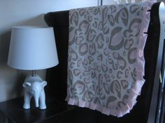Deluxe Crib Blanket in Pink Leopard with Rose by myfrecklesshop, $80.00