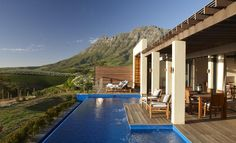 Owners Lodge Pool and Deck. The Delaire Graff Lodges and Spa, Stellenbosch, South Africa Luxury Pools, Luxury Spa, Boutiques, South Afrika, Best Spa, Most Beautiful Cities, Vacation Places, Lodges, Hotel Spa