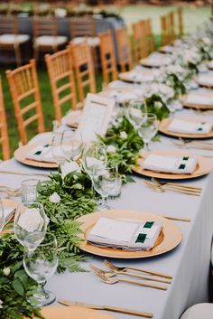 Neutral Wedding Tablescape Decor, Lined with Greenery, Gold Cutlery and Modern Menu Designs by Moana Events
