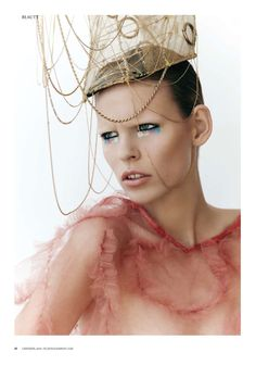 Katharina for Playing Fashion is captured by Kim Jakobsen wearing amazing accessories courtesy of Tomihiro Kono. The beautiful colorful eye makeup is created by Thomas Kluyver, who uses yellows, blues, black and pinks to create these stunning avant garde makeup looks.