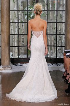 ines di santo fall winter 2015 couture wedding dress strapless sweetheart neckline fit flare bridal gown chapel train zabize back
