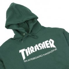 Thrasher Skate Mag Logo Hoodie in Forest Green - Detail