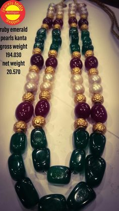 Beaded Jewellery, Beaded Bracelets, Pearl Beads, Pearl Necklace, Necklace Designs, Indian Jewelry, Gold Earrings, Antique Jewelry, Emerald