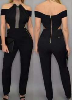 Black Cutout Waist Zipper Closure Jumpsuit