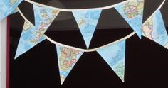 map fabric bunting nautical antique style by allthetrimmingsuk