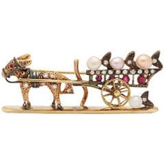 Whimsical Donkey and Cart Brooch