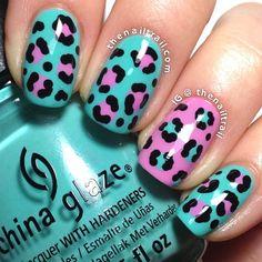 leopard print nail art .