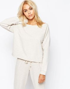 Image 1 of ASOS LOUNGE Oatmeal Marl Jersey Off the Shoulder Sweatshirt I love these with a passion