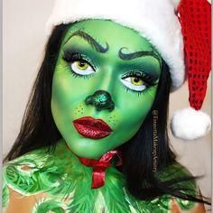 christmas costumes for halloween - christmascostumes Christmas Makeup Look, Halloween Makeup Looks, Holiday Makeup, Halloween Make Up, Christmas Face Painting, Fantasy Make Up, Fx Makeup, Creepy Makeup, Glow Makeup