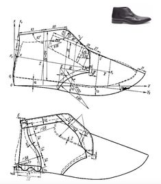Men laced ankle boots pattern (upper and lining) Lace Ankle Boots, Shoe Boots, Make Your Own Shoes, Modelista, Shoe Pattern, Patent Shoes, Stitching Leather, Designer Boots, Pattern Making