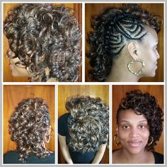Curly half mohawk weave hairstyle with cornrows Cornrows, Braids, Mohawk Braid, Weave Hairstyles, Hair Makeup, Curly, Make Up, Dreadlocks, Hair Styles