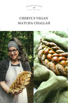 Vegan Matcha Challah Recipe.. This eye-catching version of our Jewish classic bread is stunningly bright green! Spread with tahini and a sprinkle of natural palm sugar or drizzle of maple syrup for a sweet breakfast or snack. Or slice and serve with any nut butter for a delicious accompaniment to a hot cup of fruity tea. Or bake and enjoy as it on Shabbat or any other Jewish holiday. #challahrecipe #challahbread #challahbake #challahbaking #challahbraiding Palm Sugar, Jewish Recipes, Challah, Sweet Breakfast, Nut Butter, Tahini, Bright Green, Recipe Cards, Maple Syrup