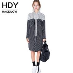 """Long sleeve button up """"boyfriend style"""" dress with pinstripes and black& & white color blocking⚖️"""