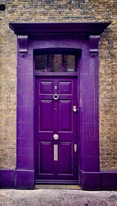 Front Door Paint Colors - Want a quick makeover? Paint your front door a different color. Here a pretty front door color ideas to improve your home's curb appeal and add more style! Cool Doors, Unique Doors, Portal, Purple Door, When One Door Closes, All Things Purple, Purple Stuff, Purple Reign, Door Knockers