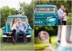 Engagement session with vintage truck, Chevy, rustic www.jennmoakphotography.com