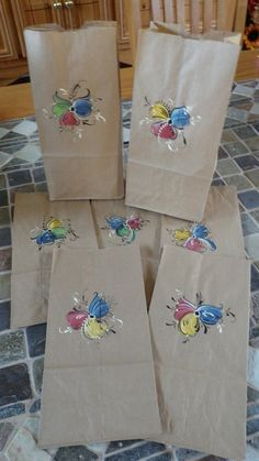Norwegian Rosemaled Lunch Bags or Favor Bags set of 10 Sac Lunch, Lunch Bags, Painted Chest, Hand Painted, May Celebrations, Norway Food, Browns Gifts, Nordic Design, Tole Painting