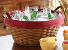 Longaberger Party Tub Basket. Fill the plastic Protector with ice, tuck in enough beverages for a crowd, grab the leather handles and go! It's big enough and strong enough to take it. Made in the USA!
