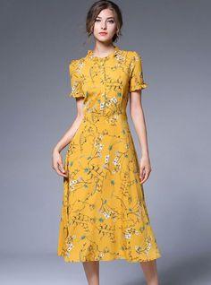 Yellow Chiffon Floral Print Falbala Skater Dress from DressSure.com #dresssure #fashion #dresses #HighQuality