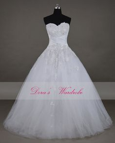 New 2014 Gorgeous lace Wedding dress,White Strapless bridal gown,Princess dress,Custom-made Brush train wedding dress