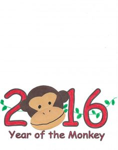 Printable 2016 greeting card  Year of the Monkey: Chinese New Year crafts Site with lots of crafts for kids.   children activities