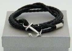 bracelet homme ancre marine  sur cuir par madewithloveinaiaciu
