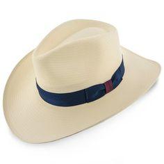 00f90cdb Santa Monica Stetson Natural Wide Brim Shantung Straw Fedora Hat (Navy  Band). Fashionable Hats