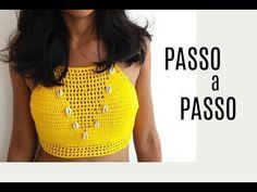 YouTube Crochet Bra, Crochet Crop Top, Crochet Clothes, Diy Tops, Boho Style Dresses, Bikini Tops, Crochet Patterns, Knitting, Fashion