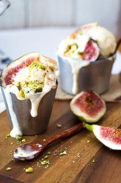 Homemade passion fruit cheesecake ice cream