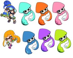Splatoon Inkling Boy and Girl and Squids Art by 57MEDIASTORE