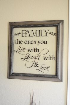 Family Quote Frame 22 1/2 inches x 22 1/2 inches. $50.00, via Etsy.