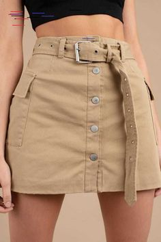 Dienst Khaki Cargo Minirock -Im Dienst Khaki Cargo Minirock - Korean Style Button Front Skirt - Brown Poster Grl Miss Behaving Cargo Skirt Modest Fashion, Skirt Fashion, Fashion Dresses, Fashion Clothes, Mode Outfits, Grunge Outfits, Girly Outfits, Stylish Outfits, Biker Outfits