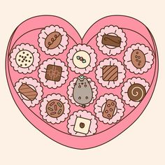 heart-shaped Valentine chocolate box filled with candy | Pusheen the Cat @ IG