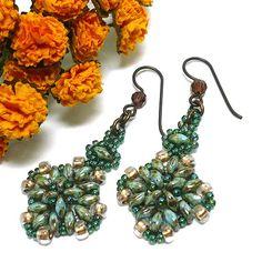 Aqua Travertine and Green Iris Beadwoven Handmade Dangle Earrings | KatsAllThat - Jewelry on ArtFire